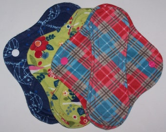 Set of 3 Flannel  panty liners with wings 8 inches