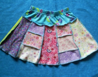 Recycled, children's, panel skirt. CUTE.