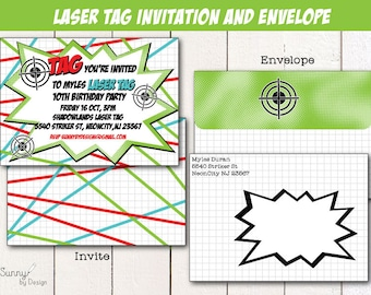 "Laser Tag Party 4x6"" or 5x7 printable invitation and envelope"
