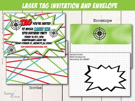 This is an image of Bright Laser Tag Invitations Free Printable