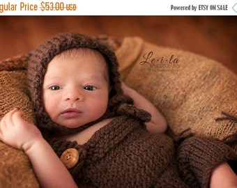 sale Newborn knit overalls with bonnet
