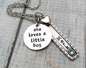 Personalized Mothers Necklace - Mom Necklace - Personalized Jewelry - She loves a little boy - Hand Stamped Necklace - Birthstone Necklace