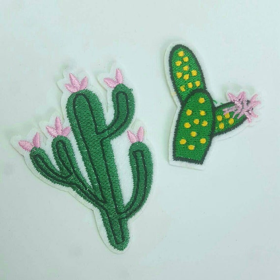 Set of flowering cactus plant embroidered applique patches