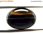 Black Banded Agate Cabochon Stone (18mm x 13mm x 7mm) - Oval Cabochon - Gem for Ring