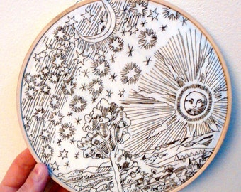 Sun, Moon and Star embroidery hoop. 7 inch. Woodcut. Occult.