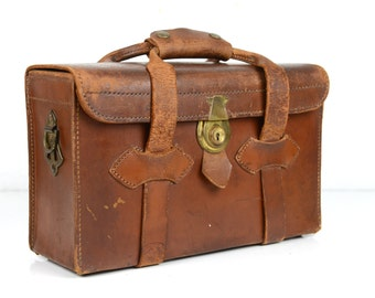 Leather Carrying case, brass accents,  marked Perrin of California No.202, vintage office, cosmetics bag, overnight case,