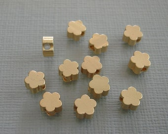 8pcs- Matte Gold Flower Beads, Wholesale Star Brass Beads, Beading Supplies, Jewelry Making(5mm).