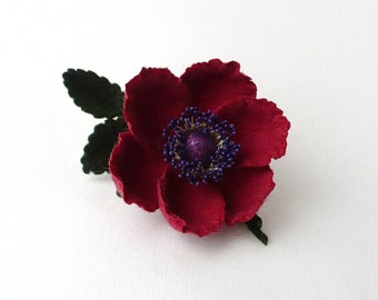 Felt flower brooch maroon Anemone, nuno felt flower from wool and silk, nunofelt flower, ready to ship
