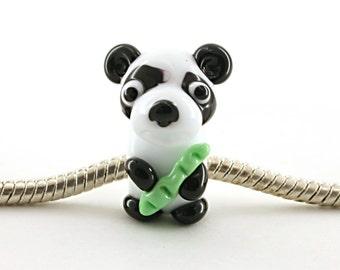 Panda glass charm bead  Glass lampwork big hole bead or BHB bead , charms bracelet ,european bracelet , jewelry animal bead  glass animals