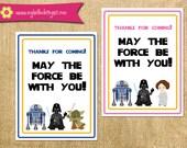 Printable Star Wars Inspired Favor Tag Cards - Jedi Invite DIY boy girl knight darth vader r2 d2 yoda c-3po favor tag printable birthday