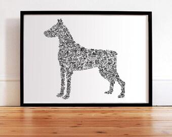 The Dobermann pinscher - Dog Silouhette - traits personnality inside with details - Hand signed - Open Edition - guard dog doberman
