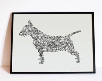"""The English Bull Terrier - The story of the dog inside the silouhette - dog breed  - Hand signed - 8"""" 12"""" 16"""" 24 inches - A4 - A3 - A2 - A1"""