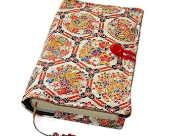 Fabric Bible Cover, Handmade Book Cover, Vintage Kimono Silk, Chinoiserie Flowers, UK Seller, Suitable for Hardback or Paperback