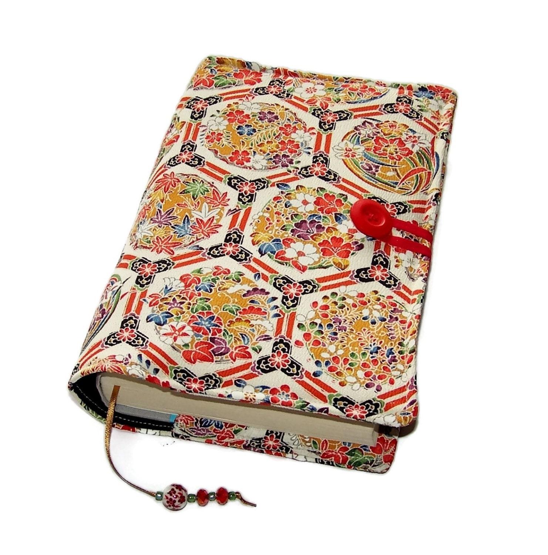 Book Cover Material Uk : Fabric bible cover handmade book vintage kimono silk