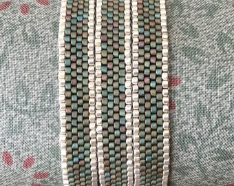 Turquoise Peyote Wrap Bracelet Bead Weaving Delica Seed Beads Magnetic Clasp Sterling Silver