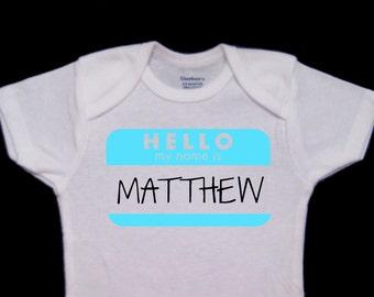 Hello! My Name is ___ Custom Cute Baby Boy Onesie Bodysuit