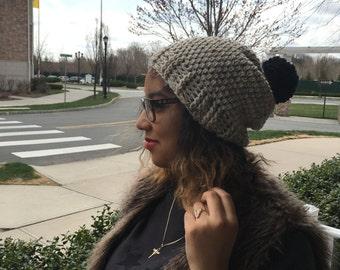 Crochet Slouchy Hat with pom pom - VANILLA TWIST/BLACK