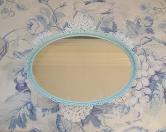 Vintage Shabby Chic Pretty Filigree Oval VanityTray - Wall Mirror - Perfume - Duck Egg Blue