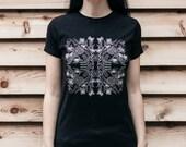 Dog Skeleton and Dogwood Black Screen Printed Punk Unisex T-Shirt