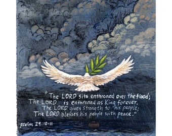 "Christian Wall Art - Art Print of Original Mixed Media Painting - Noah's Ark and Dove with Bible Verse from Psalm 29 - 8 1/2""x11"""