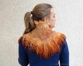 Felted collar Fox orange. Felted scarf. Felted neck warmer. Pure wool, Australian merino,  raw wool locks, alpaca. Eco friendly felt fur.