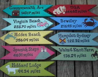 Custom Personalized Signs, Set of 9 Hand Painted Signs, Directional Signs, Beach Signs, Arrows, Destination Signs, Yard Art