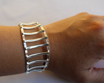 Sterling Silver Modern Cuff Bracelet- Hand crafted - One of the Kind - Minimalist Design - Wearable Art-