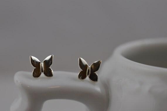 Sterling Silver Tiny Butterfly  Earrings