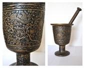 Antique Bronze Mortar and pestle, 19th c Arabic Inscribed Copper, Ottoman Apothecary, Egypt kitchen Utensils, Persian, Islamic Art,