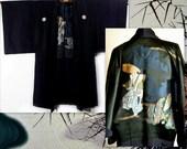 Montsuki Japanese Kimono, Silk Mens Robe, Black Haori Asian Noh Artists Musicians Tapestry Wall hangings, Wedding Gift for Him Wearable Art