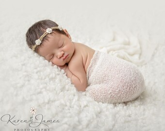 Newborn Headband, Vintage Tieback headband, Newborn photo prop, Newborn crown, Newborn halo, Baby headband, baby photo prop