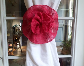 Hot Pink Fuschia Pink Burlap Flower Curtain Tie Back Pew Bow Wedding Decoration Home Decor