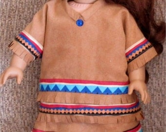 Tan Faux Suede Native American Skirt, Top and Moccasins Set Fits American Girl Dolls or Similar 18 Inch Doll