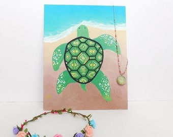 Turtle Acrylic Painting - Hand Painted Canvas Panel