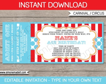 Circus ticket etsy circus party ticket invitation template carnival party circus party instant download with editable stopboris Image collections