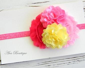 Baby Shabby Chic Headband - Pink Lemonade Headband - Shabby Chic Headband - Baby Pink and Yellow Headband