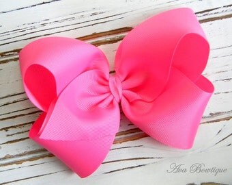 Hot Pink Boutique Hair Bow - Extra Large Hot Pink Hair Bow - Extra Large Boutique Bow - Extra Large Hot Pink Bow