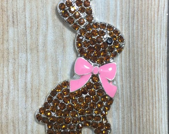 46mm Easter Chocolate Bunny Spring Pink Bow Rhinestone Pendant Chunky Necklace Beads