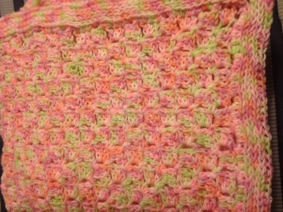 Spring Into Summer Baby Afghan - Pink, Peach, Green And White