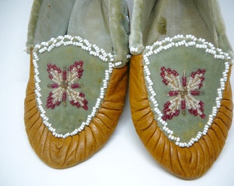 Old Beaded Child's Slippers Moccasins Woodland American Indian