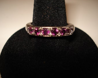 Vintage Multi Stone Channel Band Ring, Size 8, Great as a Stacking Ring, 925 Sterling Silver
