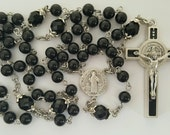 Rosary, Saint Benedict, Black Jade, Black Crystal, Five Decade, Strong, Stainless Steel, Handcrafted, Gemstone Rosary, St. Benedict Rosary