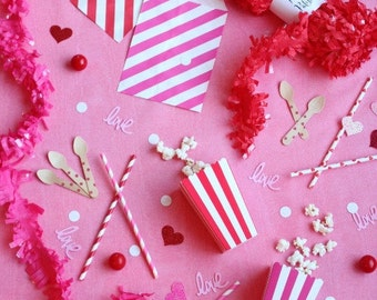 Striped party bags, Valentine, Set of 12