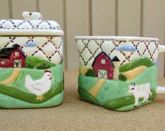vintage 80s ceramic sugar creamer set cow chicken farm scene hand made country