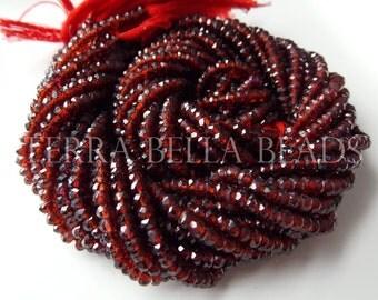 "6.5"" half strand red MOZAMBIQUE GARNET faceted rondelle gem stone beads 3mm - 3.5mm"