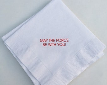 Star Wars Beverage Napkins / may the force be with you  /  Set of 50