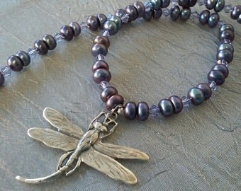 Purple Freshwater Pearl Sterling Silver Dragonfly Necklace