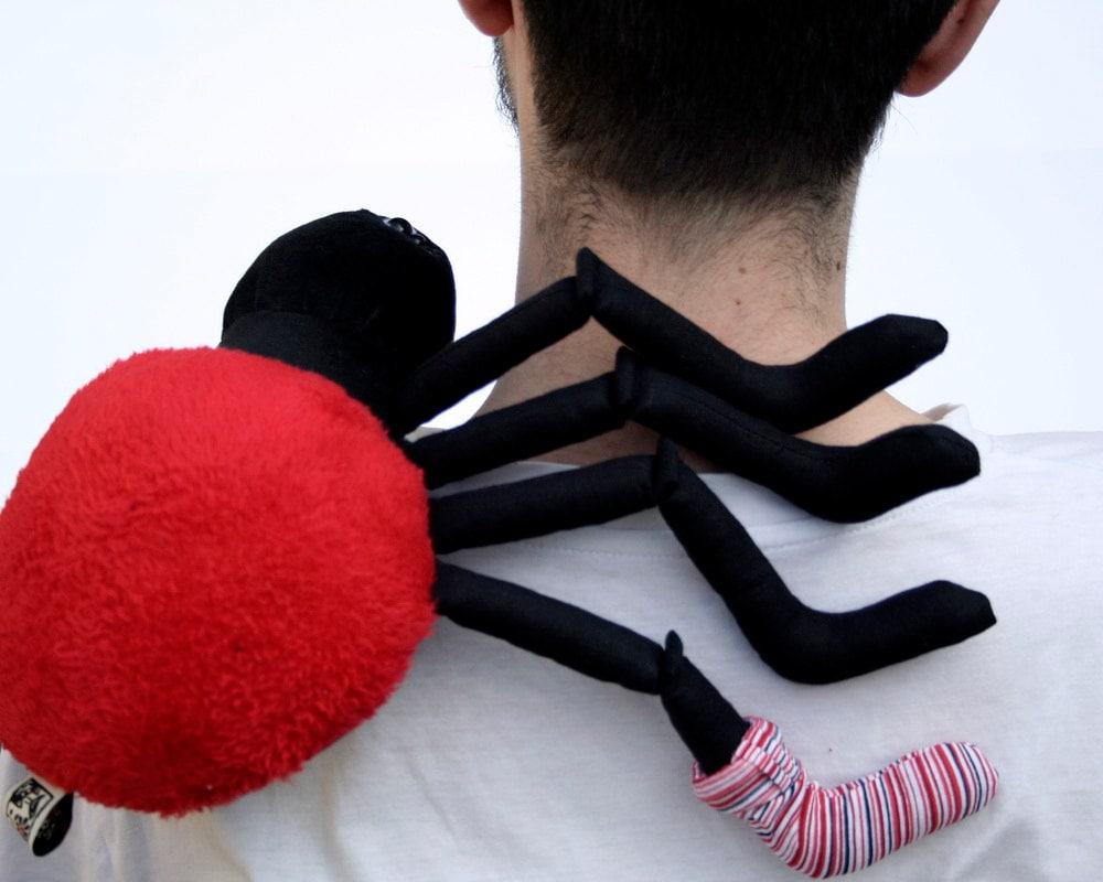 Plushie Spider, red or orange - Halloween Plush, Plushie Spider, Stuffed Animal, Funny Soft Toy