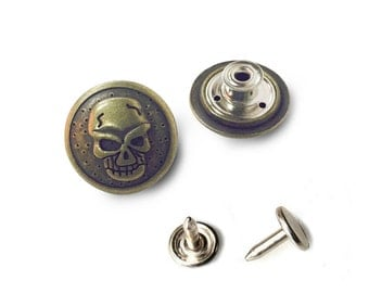 10 sets 22mm buttons denim No Sew jean tack metal buttons Antique gold button fastener with manual - Skull