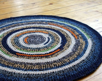 88cm or 35'' in diameter, beautiful hand crochet rug in blue, white and orange